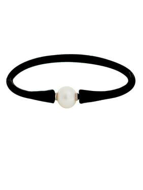 11MM White Pearl & Rubber Tennis Bracelet
