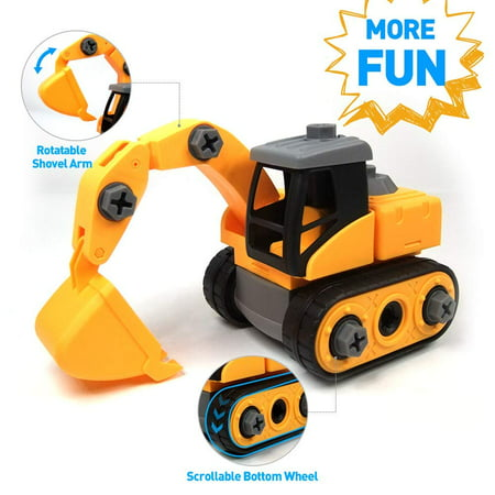 Wistoyz Excavator Toy, Take Apart Fun Toys, Ages 3 4 5 & 6 year, Construction Truck Engineering Vehicle, Building Play Toys for Boys Girls Toddlers](Fun Toys For 3 Year Olds)