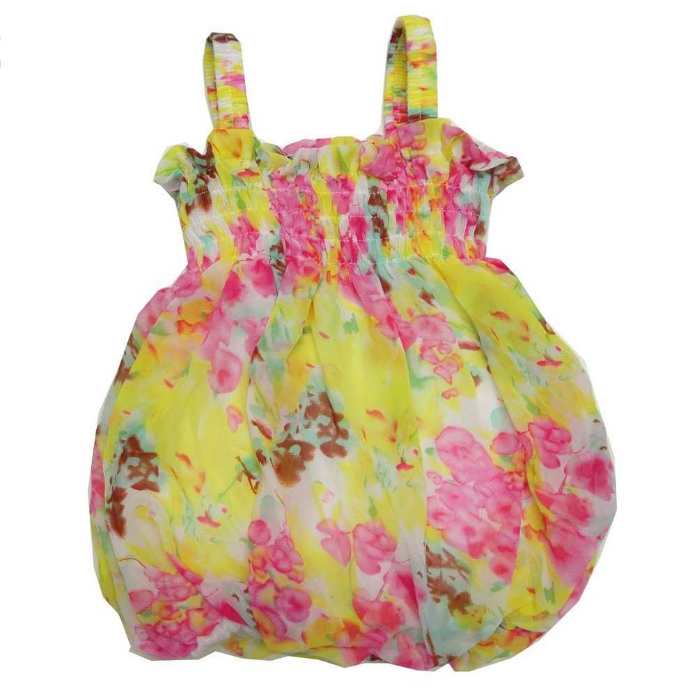 Baby Girls Pink Yellow Floral Print Strap Bubble Chiffon Dress 6-24M