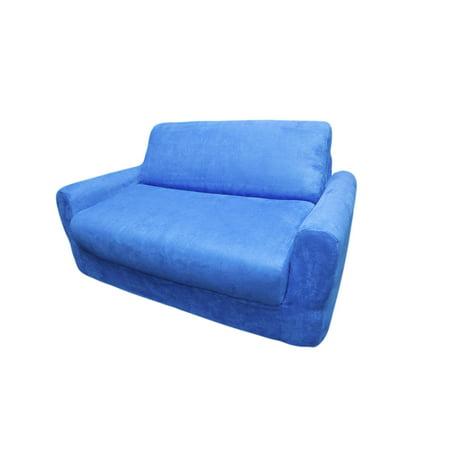 Fun Furnishings Kid Micro Suede Sofa Sleeper Pillows Royal Blue