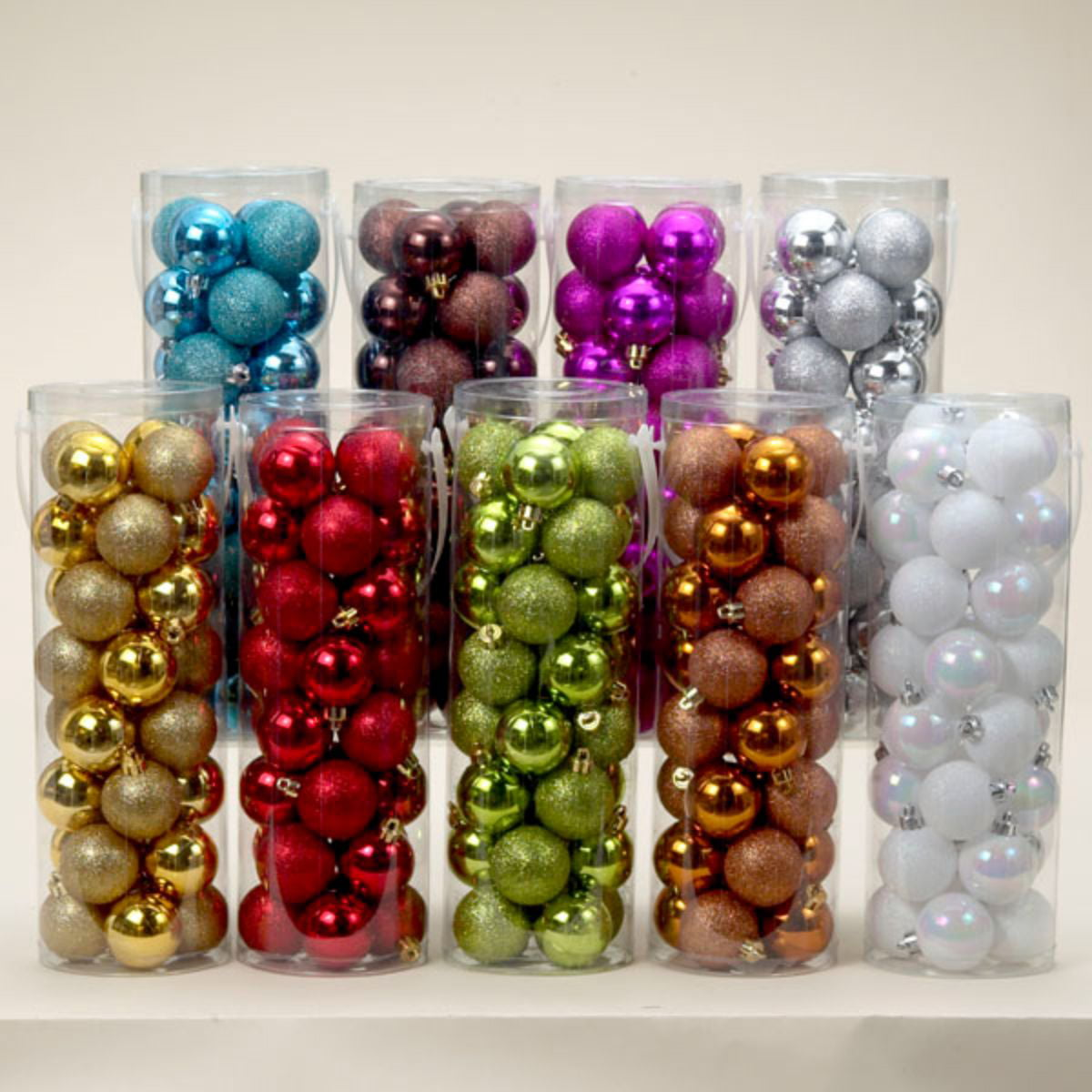 Pack of 200 Shiny & Glitter Multi Color Shatterproof Christmas Ball  Ornaments 20