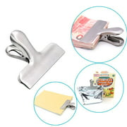 Juslike 10 PCS Wide Heavy Duty Stainless Steel Chip Bag Clips,Food Clips For Air Tight Seal Grips Food Sealing Clamp Coffee Snack Bag Clip,Photo Paper Clamp,Home Kitchen Office