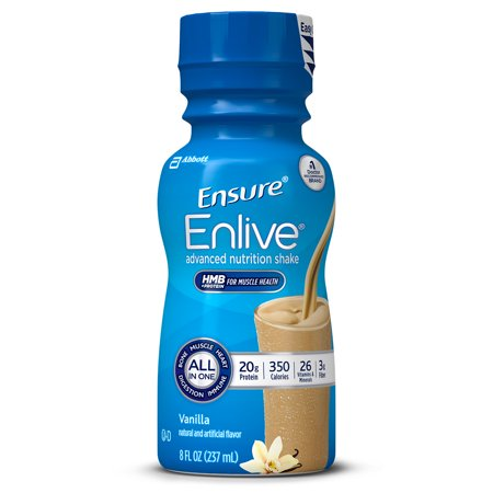 (Ensure Enlive Advanced Nutrition Shake with 20 grams of High-Quality protein, Meal Replacement Shakes, Vanilla, 8 fl oz, 12 count)