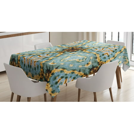 Tie Dye Decor Tablecloth, Classic Tie Dye Batik Motif with Bizarre Oriental Multiple Icons Aesthetic, Rectangular Table Cover for Dining Room Kitchen, 60 X 90 Inches, Brown Blue, by Ambesonne