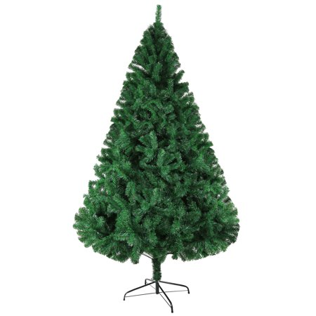 KARMAS PRODUCT 8 ft Artificial Christmas Pine Tree with Metal Stand 1500 Tips Full Tree, Xmas Decorations Included, Green - Affordable Christmas Decorations