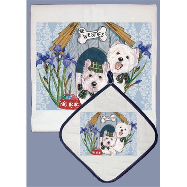 Pipsqueak Productions DP926 Westie Dish Towel And Pot Holder Set