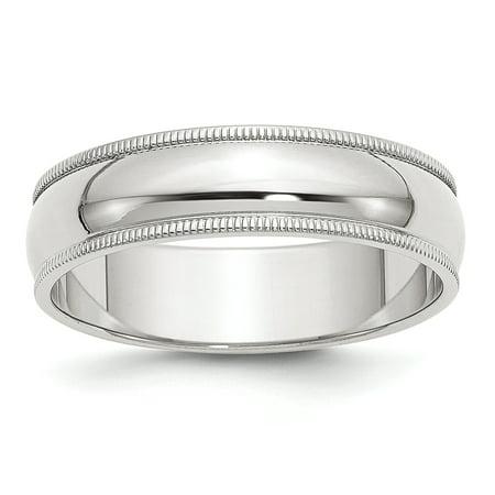 .925 Sterling Silver 6 MM Half-Round Milgrain Wedding Band Ring, Size - Milgrain Wedding Ring
