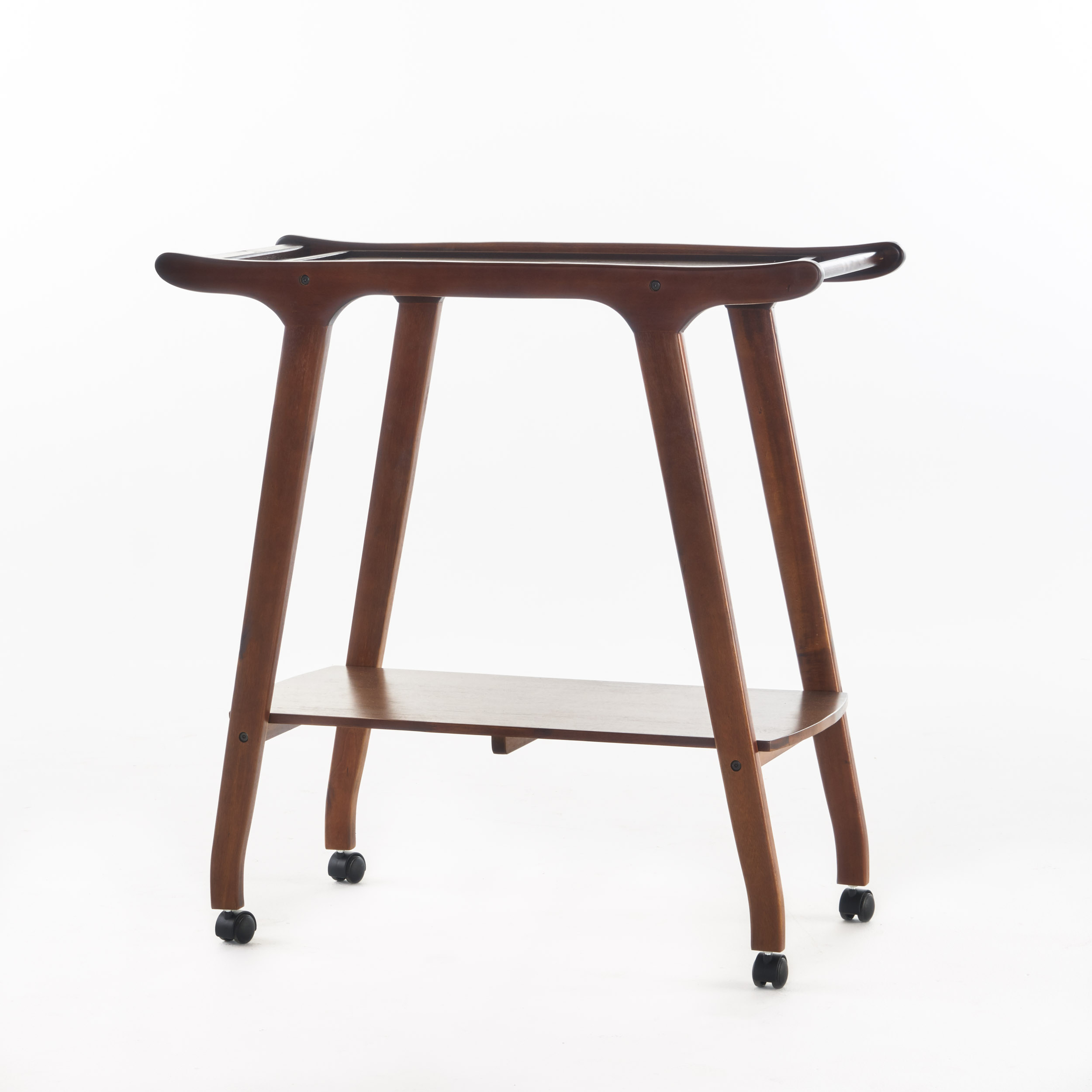 Clubhouse Mid Century Modern  Acacia Wood Bar Cart, Rich Mahogany