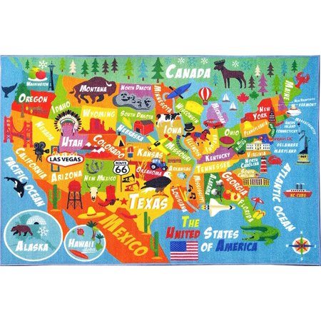 KC CUBS Playtime Collection USA United States Geography Map Educational Learning Area Rug Carpet for Kids and Children Bedrooms and Playroom (3'3
