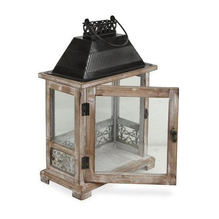 Cheungs 5279 Rectangular Wooden Lantern with Black Metal Top & Galvanized Accent - image 1 of 1