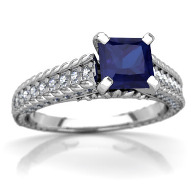 Lab Sapphire Antique Style Ring in 14K White Gold by