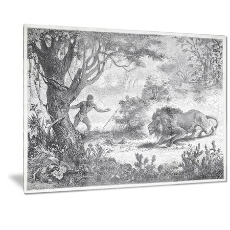 DESIGN ART Designart 'Lion Eating Man' Landscape Animal Metal Wall Art - Man Eating Plant