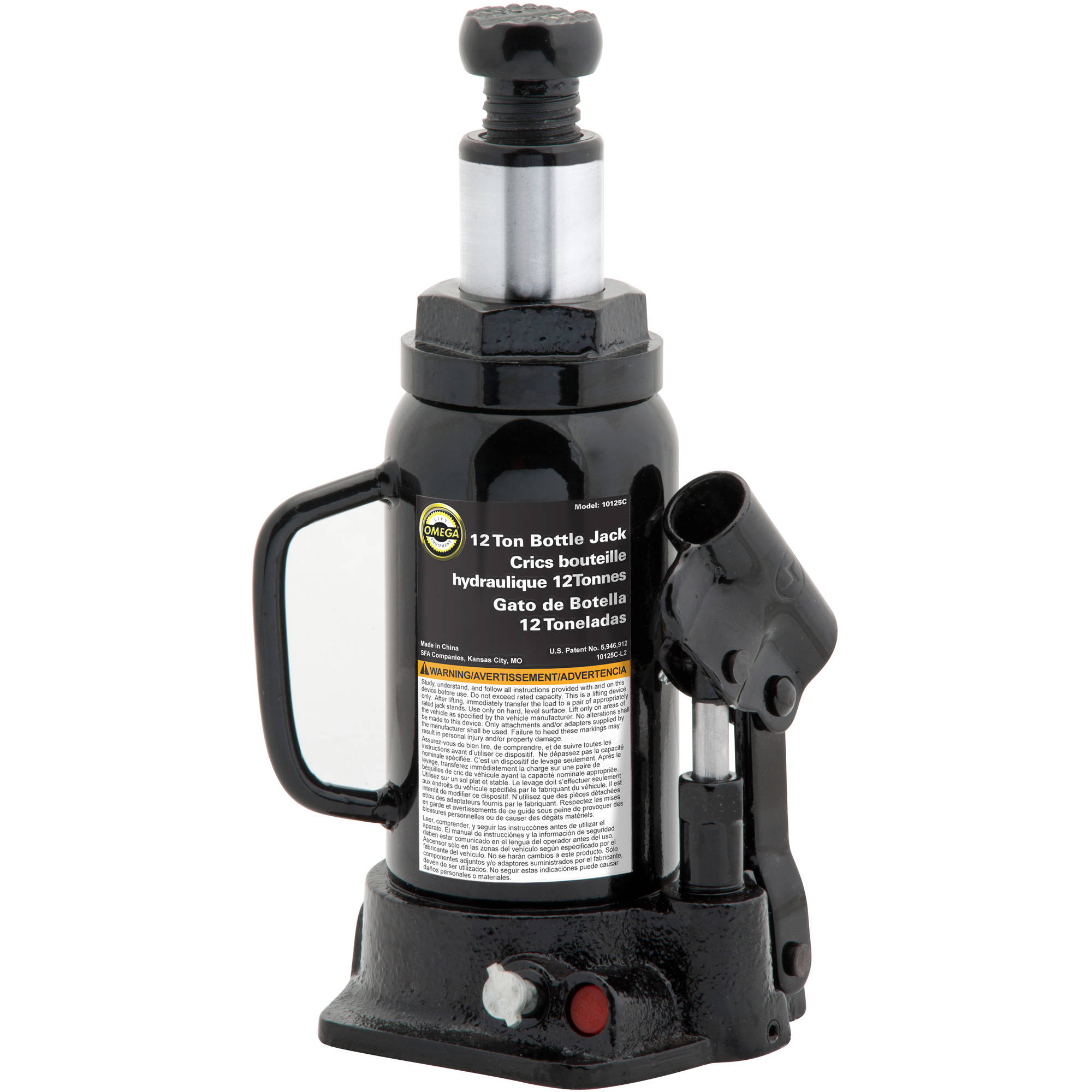 Omega 10125B Black Hydraulic Bottle Jack, 12 Ton Capacity
