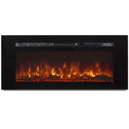 Best Choice Products 1500W 50in Adjustable In-Wall Mount Recessed Electric Fireplace Heater with Tempered Glass, Steel Frame, Remote Control, Black ()