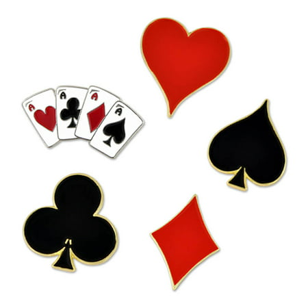 PinMart's Heart Spade Aces Club  Diamond Playing Card Suits Enamel Lapel Pin Set