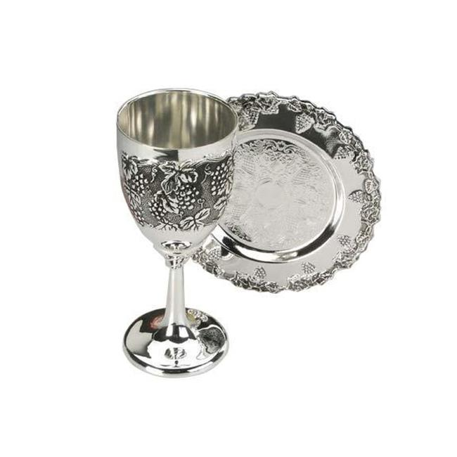 Nua Collection 58215 Kiddush Cup Set with Silver Plated Holds  4 oz