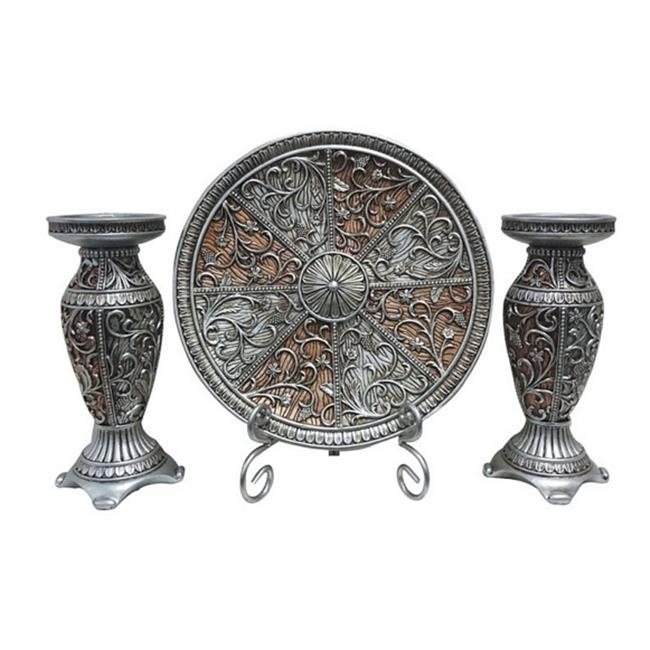 DLusso Designs Sofia Collection Four Piece Charger, Stand And Two Candlestick Set