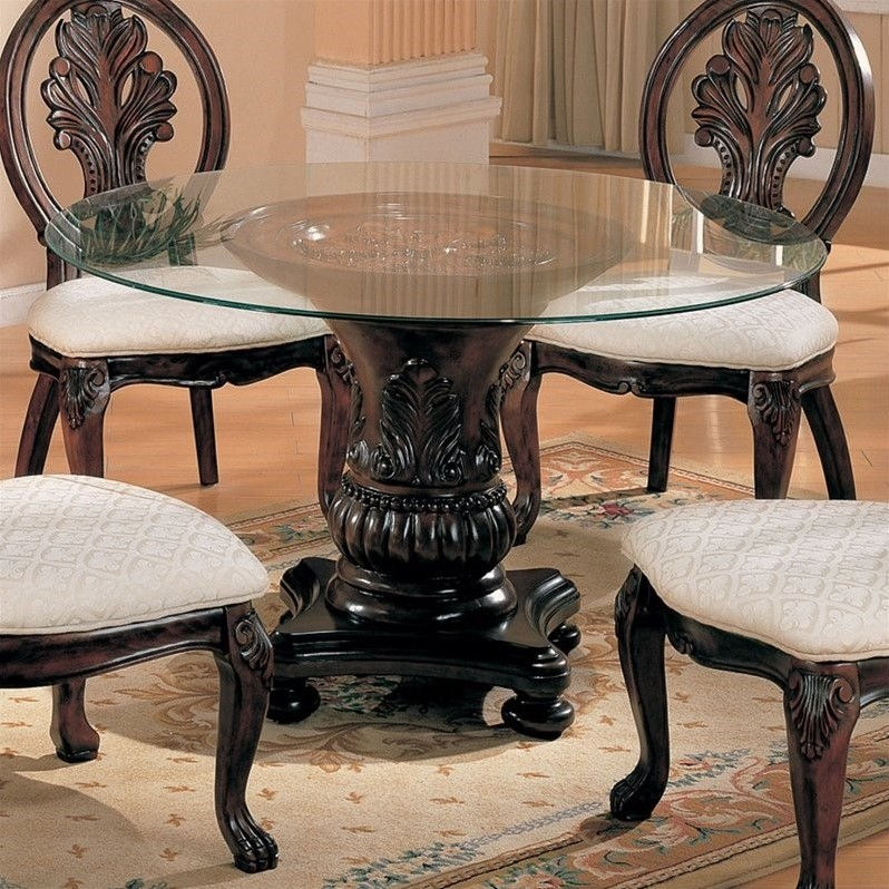 Coaster Tabitha Round Glass Top Dining Table in Cherry