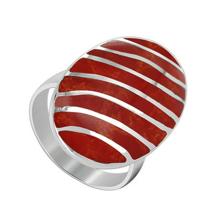 925 Sterling Silver Oval Red Coral Gemstone with Stripes Design Ring