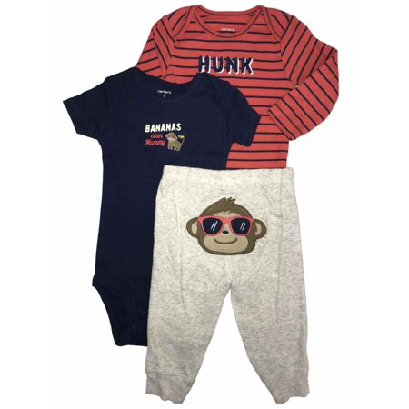 Carters Infant Boys Monkey & Bananas Hunk Baby Outfits Bodysuits & Joggers Set - Monkey Onsie