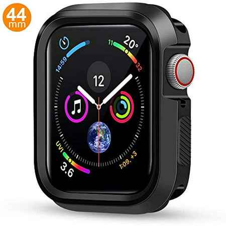 Case Compatible Apple Watch Series 4, Shock Proof Protective Silicone Bumper Resistant TPU Protector Case Cover Replacement for Apple Watch Series 4 (Black,