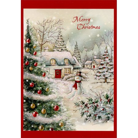 Designer Greetings Snow Covered Home and Snowman Box of 18 Christmas Cards ()