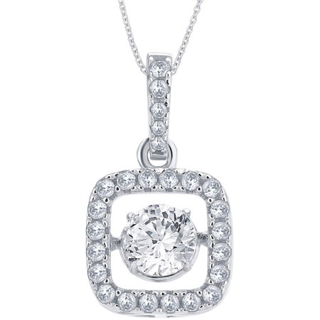"1/4 Carat T.G.W. White Round-Cut CZ and Dancing Swarovski Crystal Sterling Silver Square Fashion Pendant, 18"" Chain"