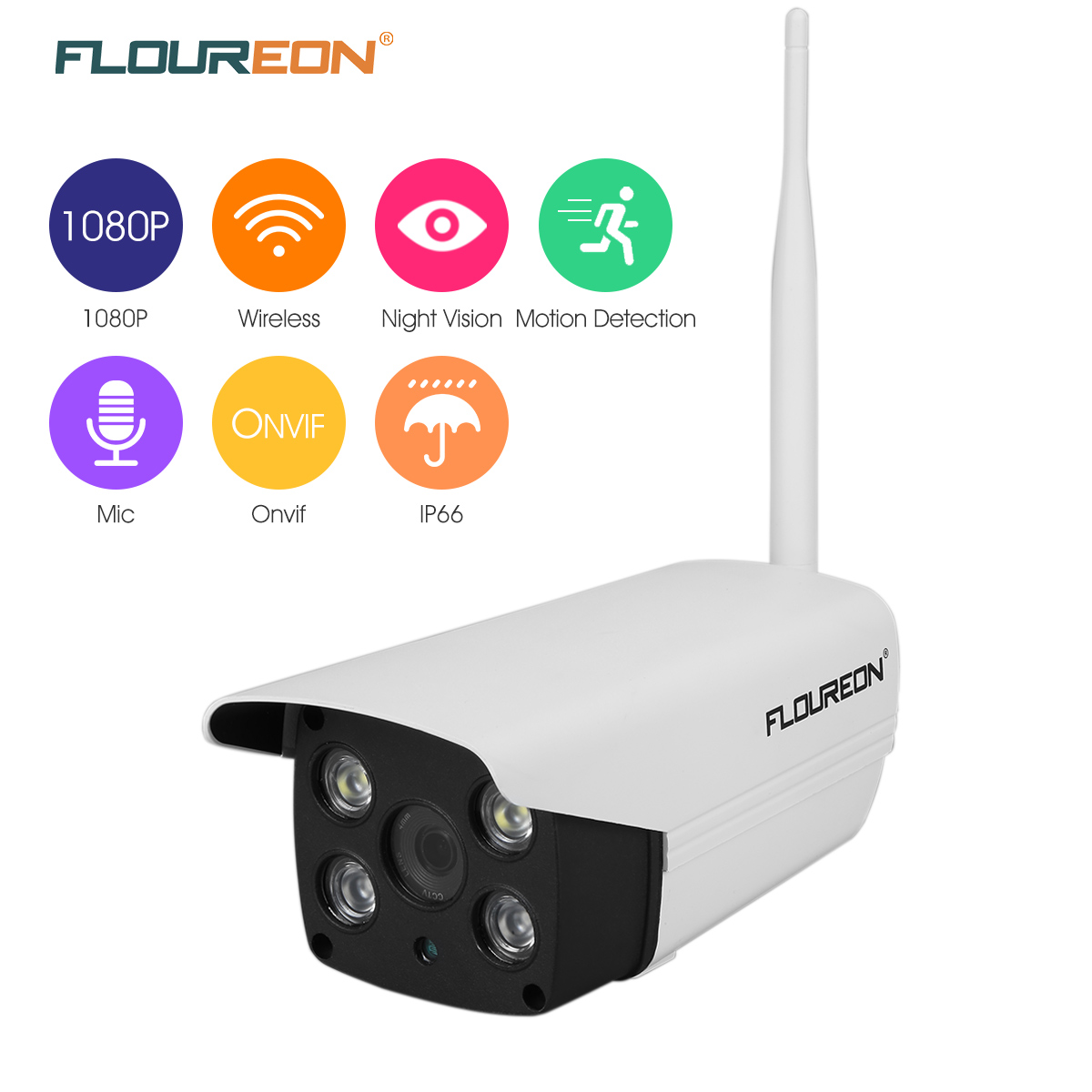 Security Wireless IP Camera, FLOUREON 1080P HD 2.0 Mega pixel WLAN H.264 Wireless Built-in Mic SD Slot WIFI Wireless House Camera
