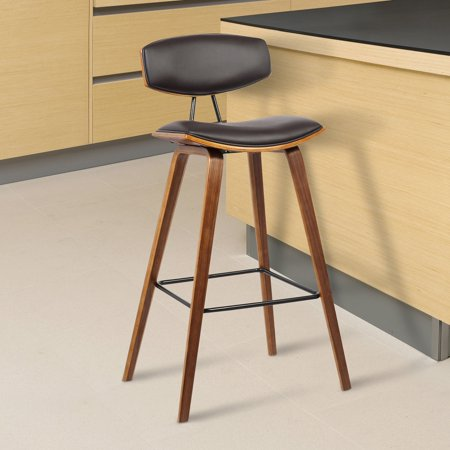 "Armen Living Fox 30"" Mid-Century Bar Height Barstool in Brown Faux Leather with Walnut Wood"