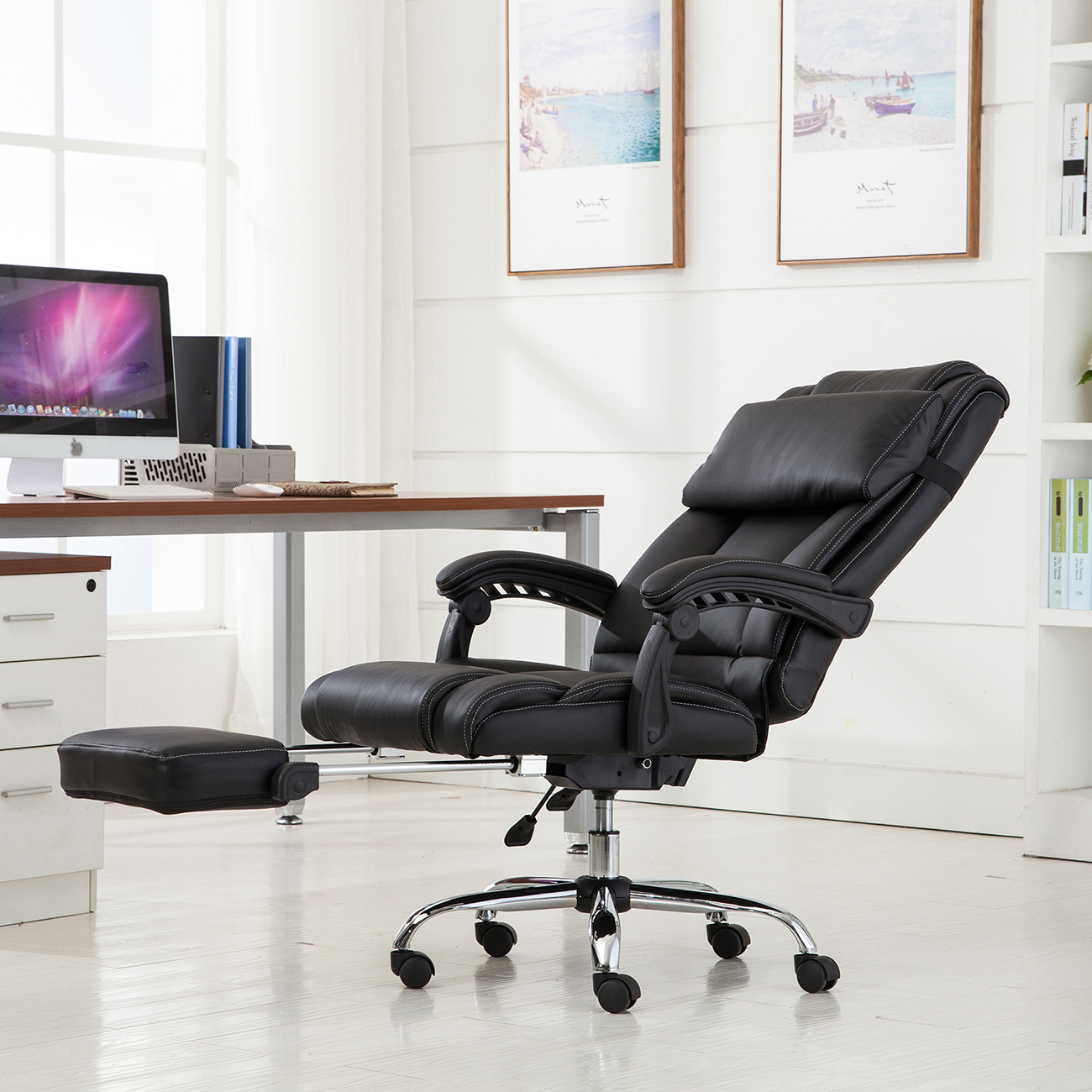 Belleze Executive Reclining Office Chair High Back w/ Footrest Armchair Recline + Pillow -Black & Belleze Executive Reclining Office Chair High Back w/ Footrest ... islam-shia.org