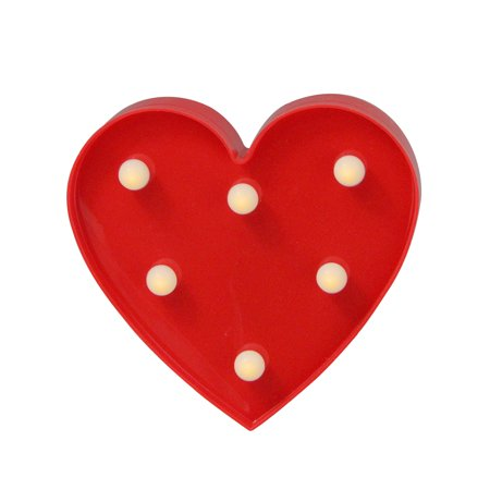 """6"""" Battery Operated LED Lighted Red Valentine"""