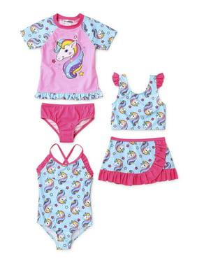 Dreamwave Toddler Girl One-Piece, Bikini Skirt & Rash Guard Swimsuits, 5pc Set