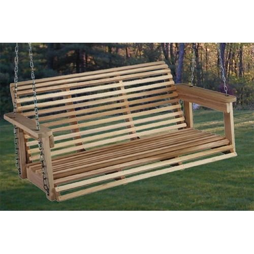 Beecham Swing Co. Rolled Back 4 ft. Wood Porch Swing