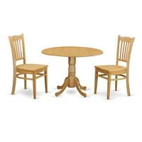 East West Furniture DLGR3-OAK-W Dining Room Dinette Table & 2 Chairs, Oak