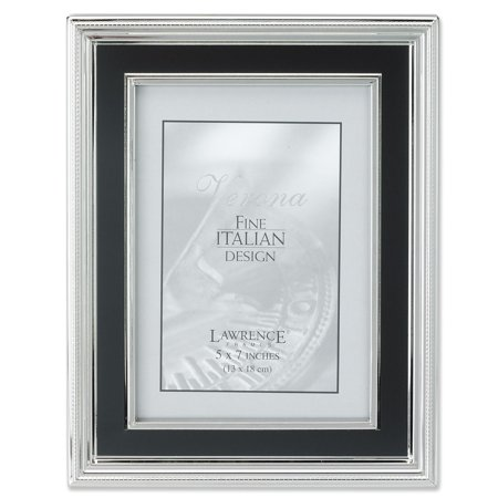 - 5x7 Silver Plated Metal Picture Frame - Satin Black Inner Panel