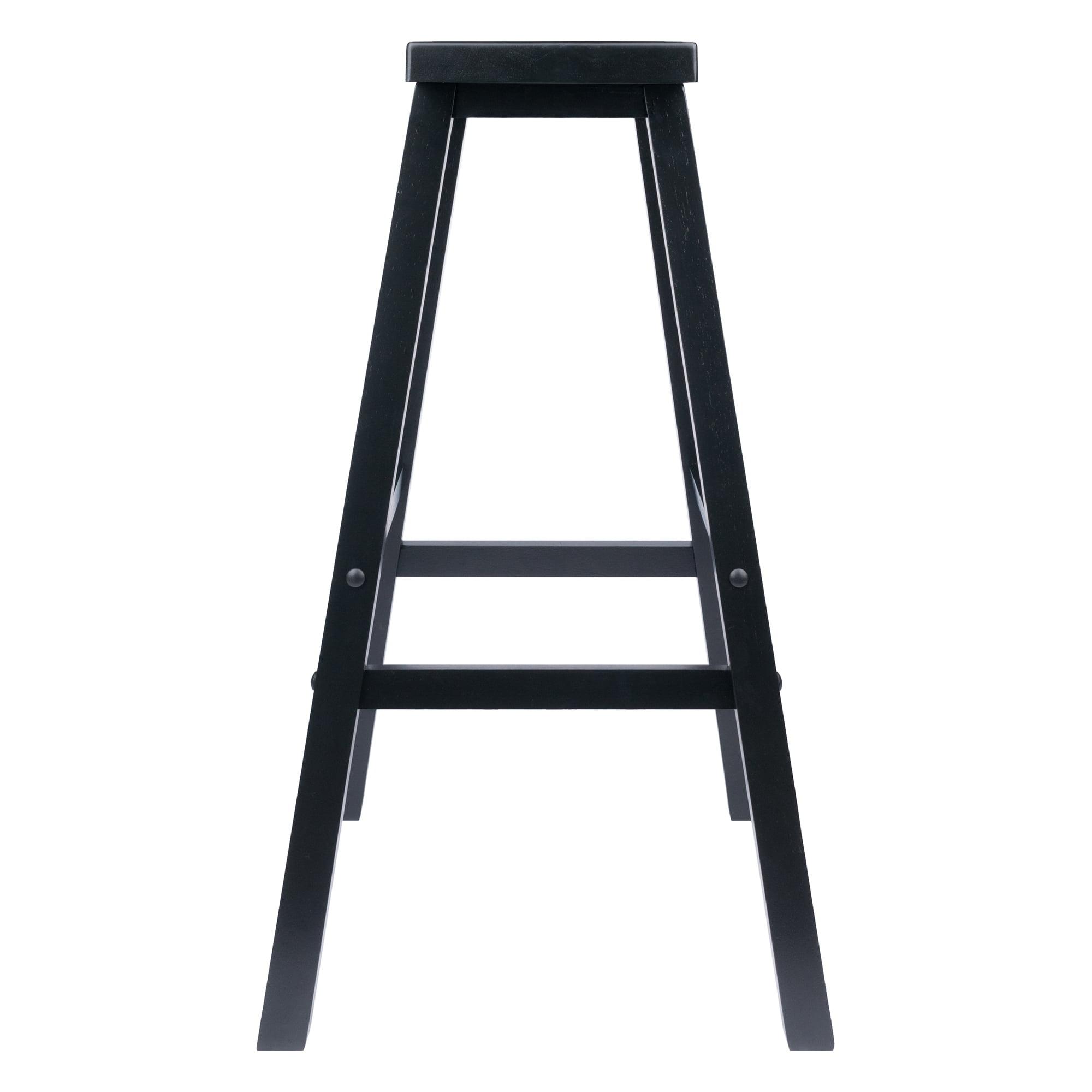 Phenomenal Winsome Wood Satori Saddle Seat Bar Stool 29 Black Bralicious Painted Fabric Chair Ideas Braliciousco