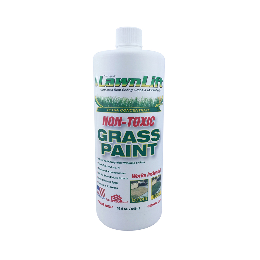 32 OZ. LawnLift Grass Paint concentrate. Covers up to 1000 sq. feet of yellowed lawn. Non-toxic