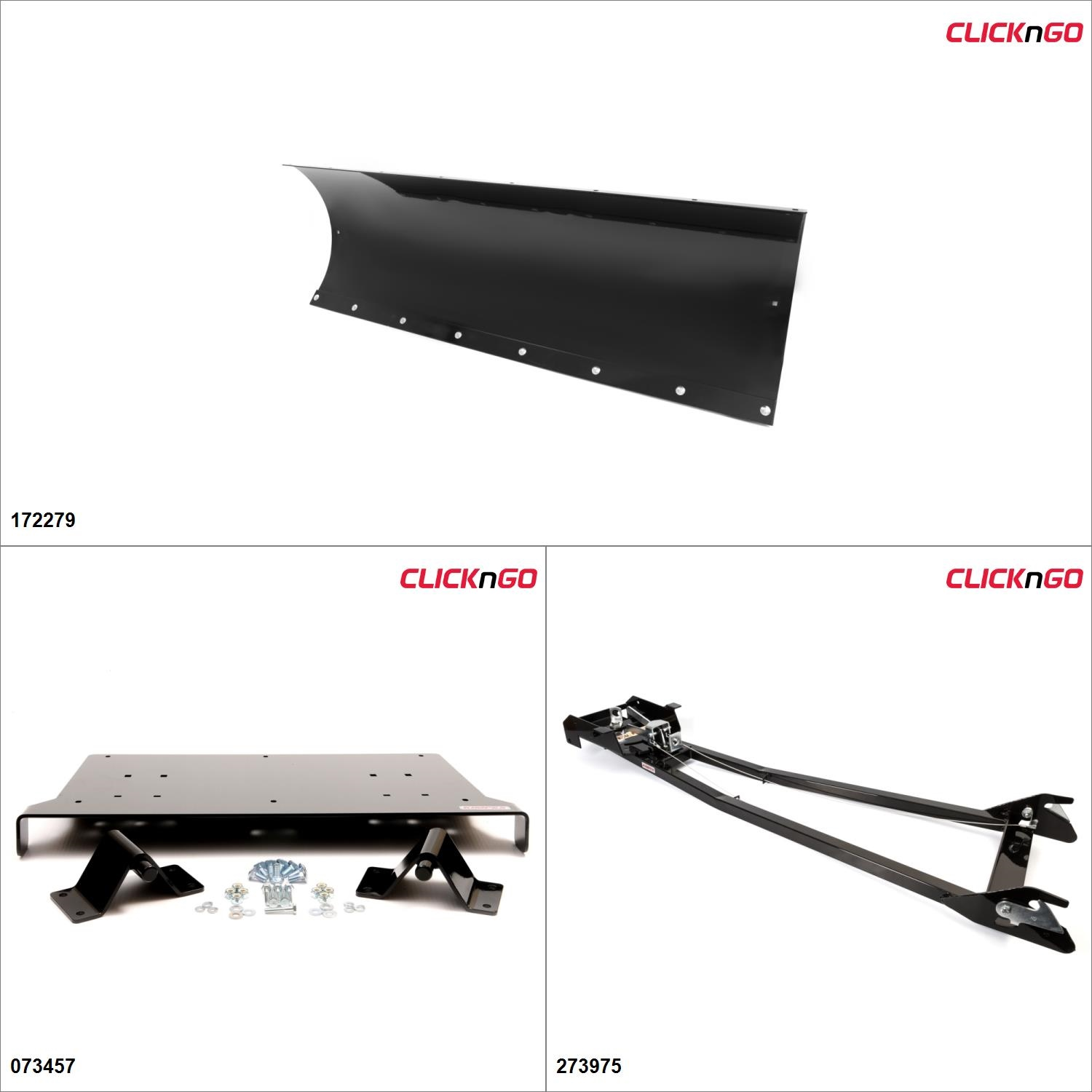 "ClickNGo GEN 1 UTV Plow Kit - 72"", Polaris Ranger 400 2014 Black  #KK00000130_1"