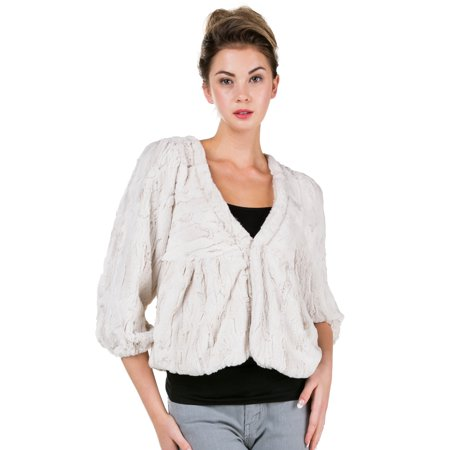 V-neck Women Jacket (Women Faux Fur Quarter Sleeve One Button V Neck Jacket (IVORY, SMALL) )