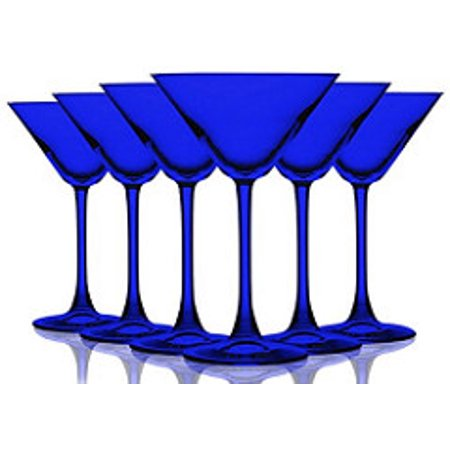 Cobalt Blue Colored Martini/Cocktail Glasses Fully Colored - 10 oz. Set of 6- Additional Vibrant Colors Available by TableTop King  - Orange Martini Glasses