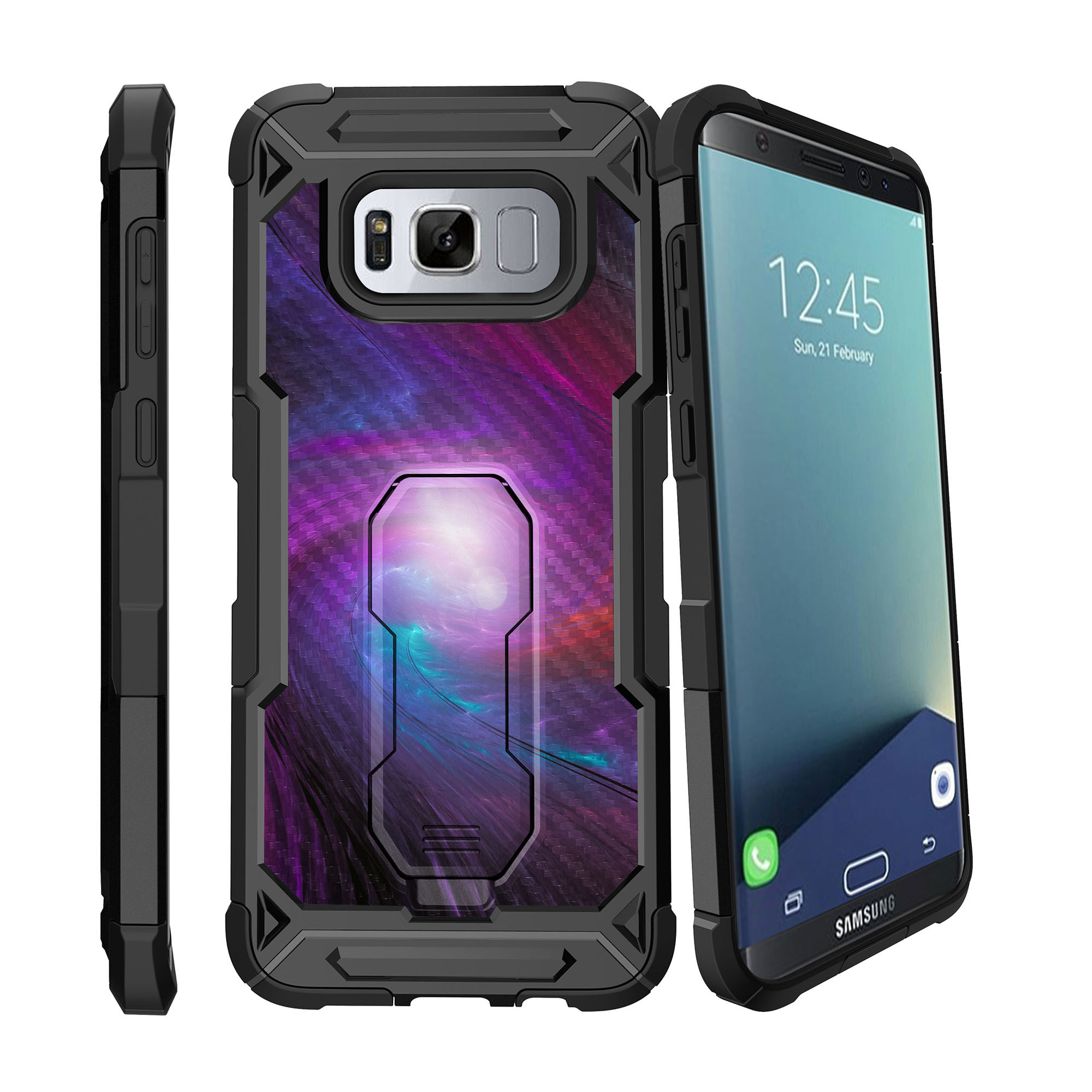 Case for Samsung Galaxy S8 Plus Version [ UFO Defense Case ][Galaxy S8 PLUS SM-G955][Black Silicone] Carbon Fiber Texture Case with Holster + Stand Galaxy Collection