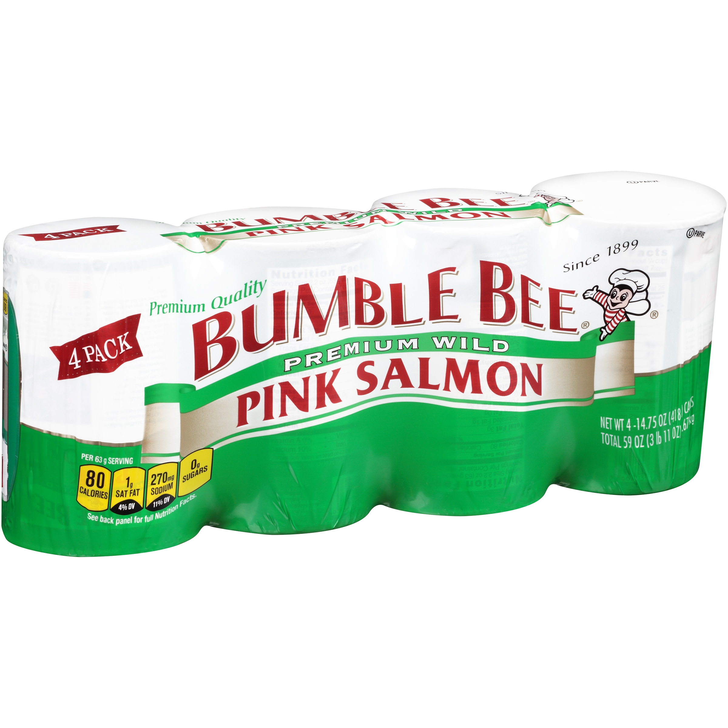 Bumble Bee Wild Pink Salmon, 14.75 oz cans, 4 count by Bumble Bee Foods