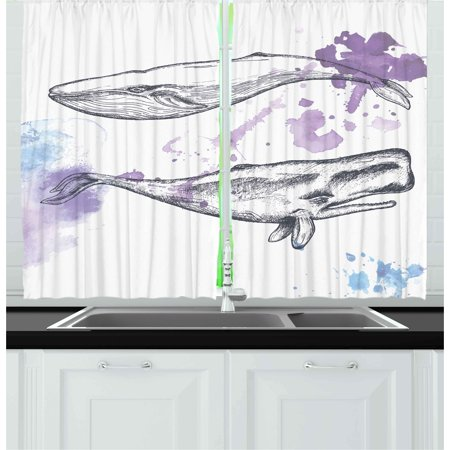Lavender Grey (Whale Curtains 2 Panels Set, Grunge Ocean Mammals with Paintbrush Effects and Brushstroke Murky Artwork, Window Drapes for Living Room Bedroom, 55W X 39L Inches, Lavender Grey Blue, by)