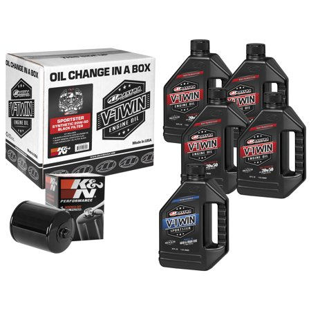 Maxima 90-119015B Sportster Synthetic Oil Filter Kit with Black Filter - 20W50