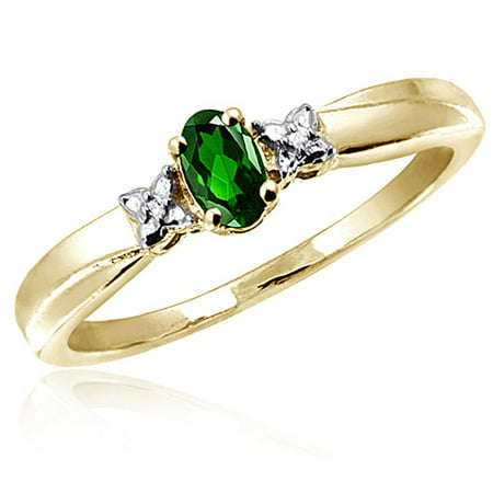 JewelersClub 0.23 Carat Chrome Diopside Gemstone and Accent White Diamond Ring