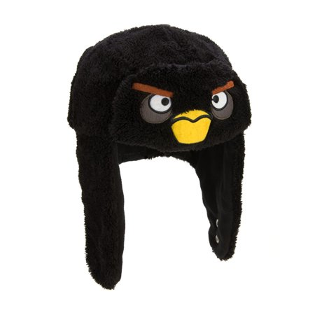 Angry Birds Black Bird Face Furry Bomber Hat
