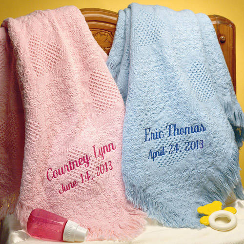 Personalized Honeycomb Cotton Baby Blanket