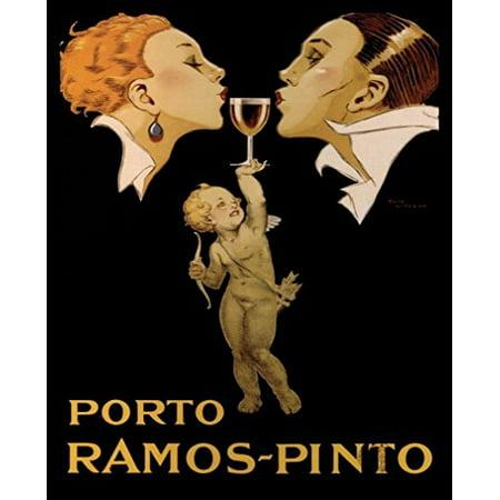 buyartforless IF 16055 20x16 1.25 Black Framed Porto Ramos Pinto 20X16 Art Print Poster Wine Port Angel Vintage Advertising bar