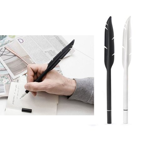 2 Kikkerland Feather Gel Pen Ink Silicone Rubber White Black School Office Gift - Personalized Gift Pens
