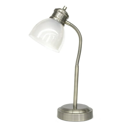 - Mainstays Silver Metallic Task Lamp with Goose Neck, Silver- 20